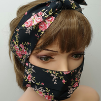 Handmade set of mask and matching headband