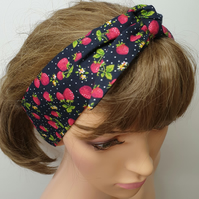 Navy strawberry print self tie women headband