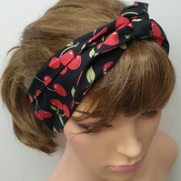 Women cherry berry tie up 50's headband.