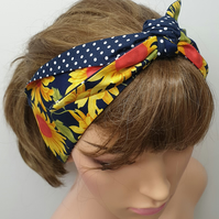 Self tie women sunflower and polka dots reversible headband.