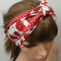 Women reversible red poppies and polka dots headband.