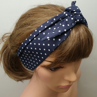 Navy polka dots cotton retro headband.