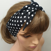 Black polka dots women tie up hair scarf.