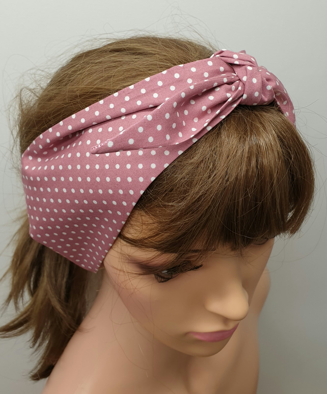 Pale pink women retro self tie headband.