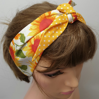 Handmade women yellow polka and sunflowers headband.
