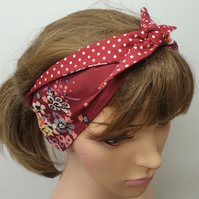 Red self tie reversible rockabilly headband.