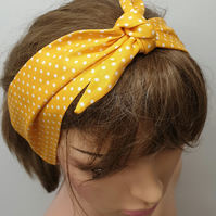 Women self tie yellow polka dot cotton headband.