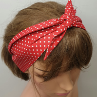 Red polka dots handmade retro cotton headband.