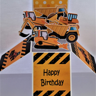 Boys Birthday Card with Diggers
