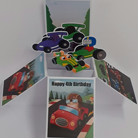 Boys 4th Birthday Card with Racing Cars