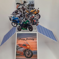 Men's Birthday Card with Motorbikes