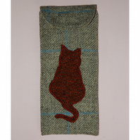 Glasses case with ginger cat tweed