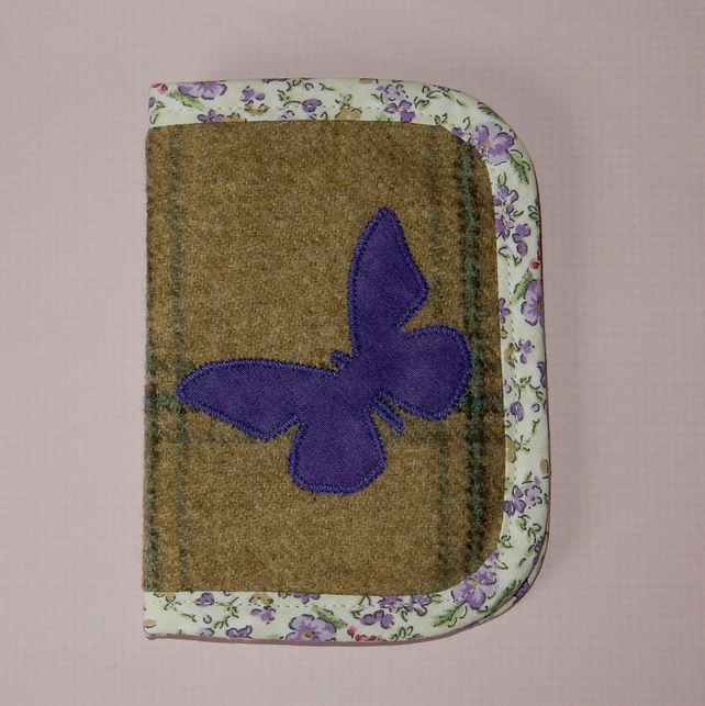 Tweed needle case with butterfly