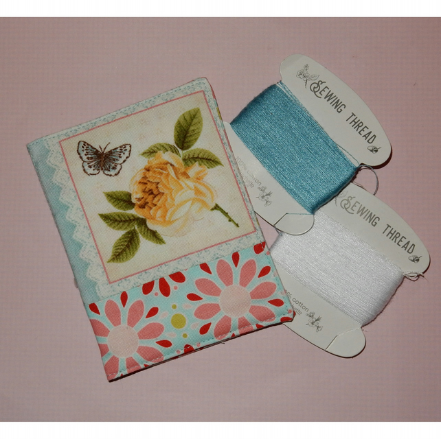 Needle case - pretty rose and butterfly