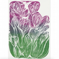 A4 Linocut Print of Tulips & Freesias.