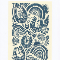Good Luck Charms. A5 Lino Print Original Art