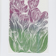 Tulip and Freesia Print Greetings Card