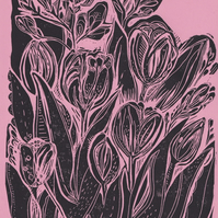 A4 Linocut Print - Pink and Black Tulips & Freesias.