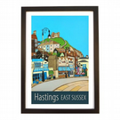 Hastings East Sussex travel poster print by Susie West