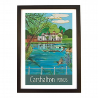 Carshalton Ponds travel poster print by Susie West