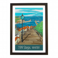 Whitby 199 Steps travel poster print by Susie West