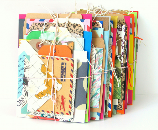 20pc Bundle of Envelopes Tags and Bags for Junk Journals, BUJO, Scrapbooking