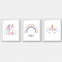 Unicorn nursery wall prints, Unicorn nursery decor, sleeping unicorn girl's room