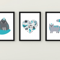 Cats wall prints, Cats wall art, teal and grey cats wall decor