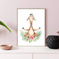 Giraffe in yoga pose print, funny giraffe wall decor, gift for yoga lover