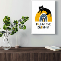 Cat on the rainbow print, gift for cat lovers, scandi art. cat print 1