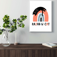 Cat on the rainbow print, gift for cat lovers, scandi art. cat print 5