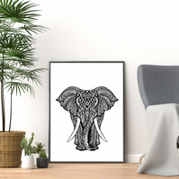 Elephant print, black and white mandala elephant wall art, elephant gift