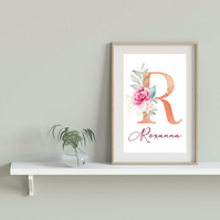 Personalised rose gold name print, initial letter with flowers print, gift