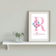 Personalised name print, initial letter pink with flowers print, gift