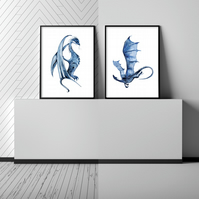 Watercolour dragon prints, dragon wall art, dragon posters, gift for dagon lover