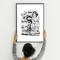 Funny cats print, funny cats black and white illustration, gift for cat lover