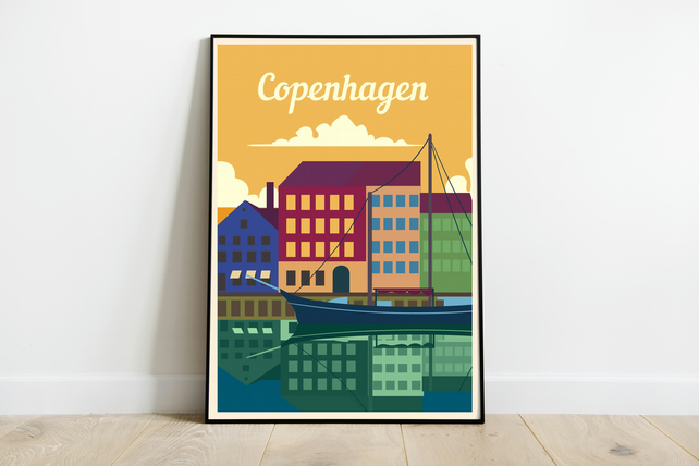 Copenhagen retro travel poster, Denmark travel poster