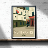 Montmartre retro travel poster, Paris city print, Paris travel poster