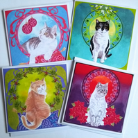 Set of 4 Christmas Art Nouveau Cats Greeting Cards