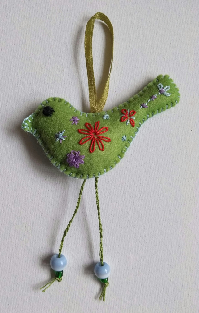 Felt Little Green Bird with Long Legs Hanging Decoration