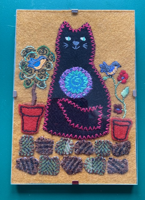 Hand embroidered A6 clip frame picture - Cat and Garden