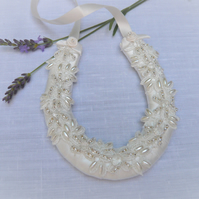 Small Ivory  Lace Horseshoe with Beads