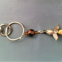 Glass Angel Bag Charm, Yellow Guardian Angel Key Ring, Bag Accesssory