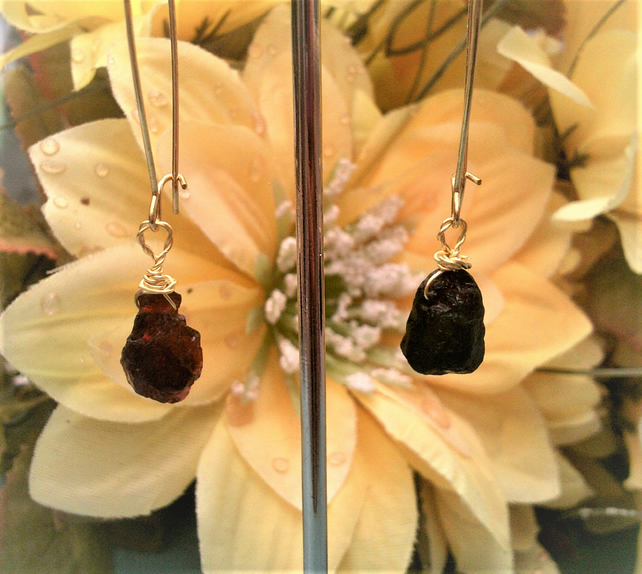 Raw Stone Garnet Earrings, Natural Garnet Jewellery, Gold Plated Dangle Earrings