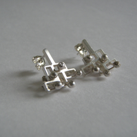 Small rectangular brick stud earrings, Polished silver, Style 2
