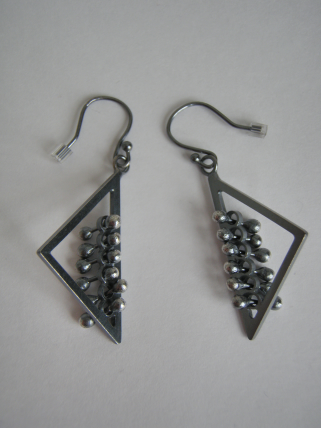 Triangle kinetic quirky earrings, interactive fidget, large oxidized silver.