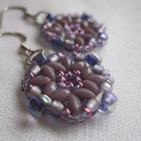 Purple Square Beadwork Earrings