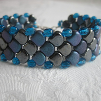 Blue and Black Dragon Scale Beadwork Bracelet