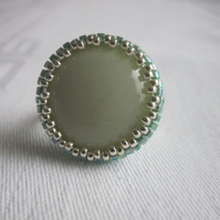 Light Green and Silver Beadwork Ring