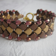 Gold Dragons Scale Beadwork Bracelet